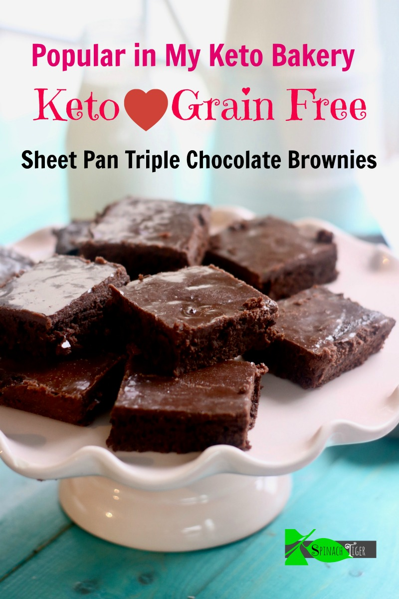 Triple Chocolate Grain Free Brownies made in sheet pan. Keto. Paleo. Sugar Free. #swerve #betterbodyfoods #choczero #ketobakery #nashvilleketobakery #spinachtiger via @angelaroberts