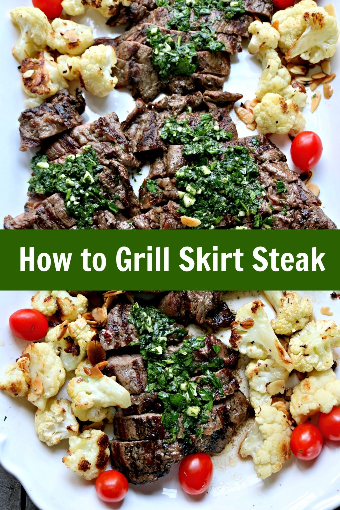 How to Grill Skirt Steak and Make Chimichurri, an uncooked herb and olive oil sauce with garlic, lemon juice, chili flakes and more. #chimichurri #skirtsteaks #grilledsteak #parsley #spinachtiger via @angelaroberts