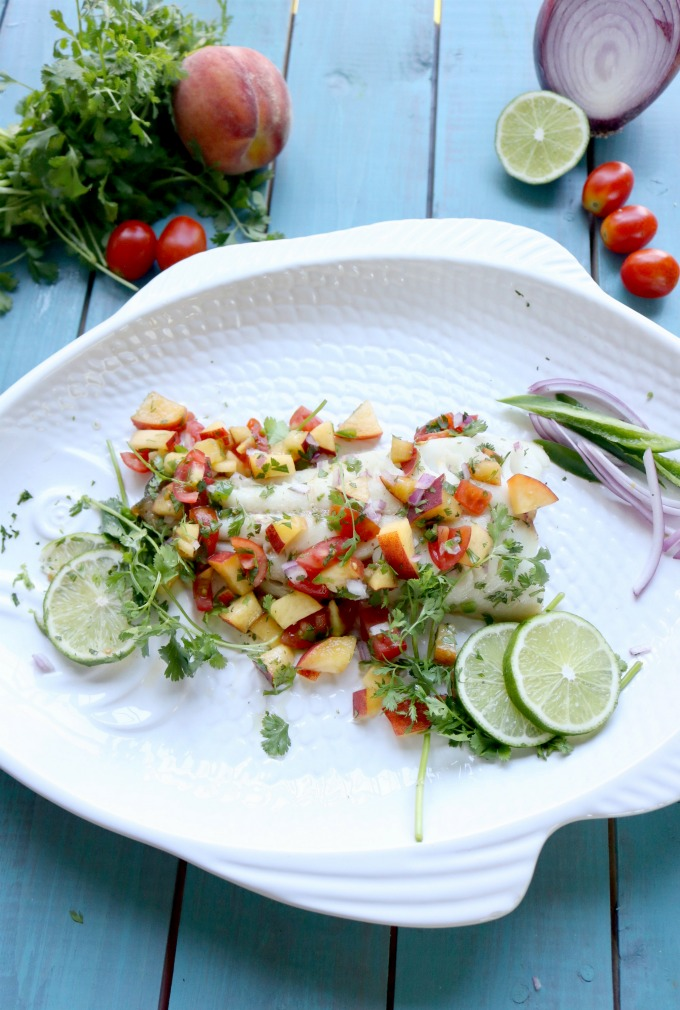 Peach Salsa with Roasted Sable Fish
