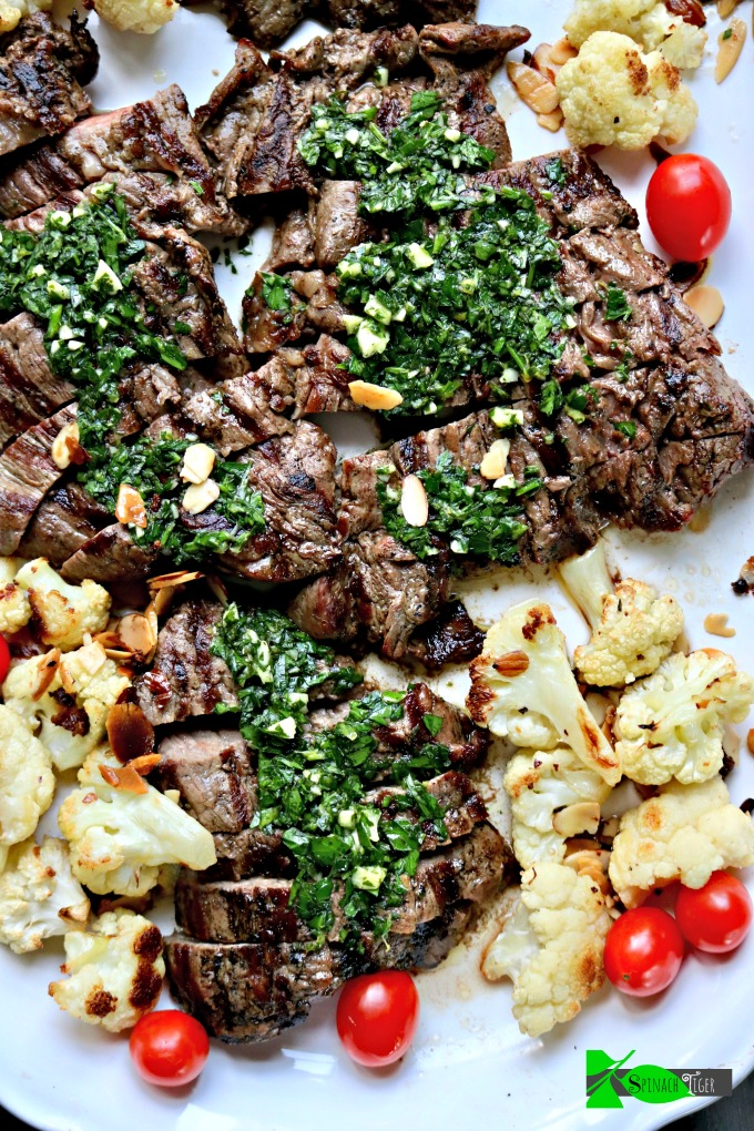 Chimichurri with Grilled Skirt Steak from Spinach Tiger