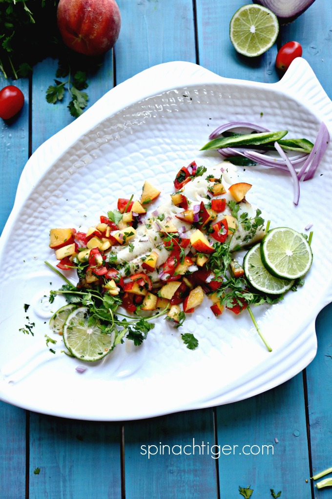 Roasted Sable Fish with Peach Salsa from Spinach Tiger