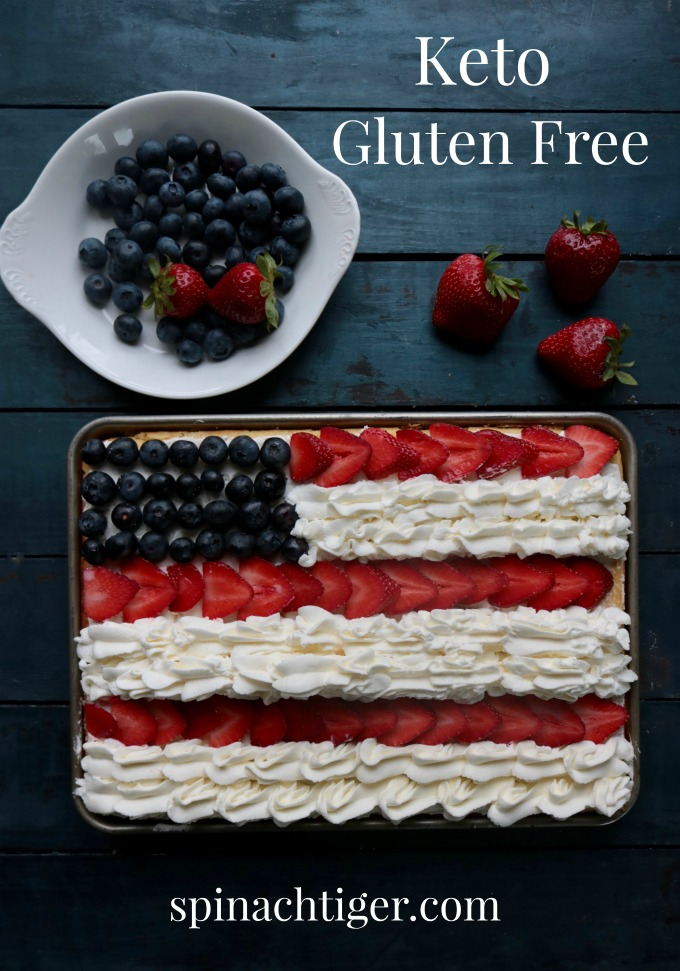 Keto flag cake, sugar free, gluten free, made with vanilla cake, stabilized whipped cream and can be made hours in advance. Whipped cream can be made a day in advance and applied before serving. #ketoflagcake #flagcake #july4thdessert #spinachtiger #swerve via @angelaroberts