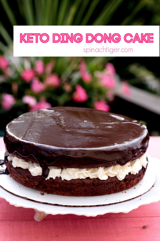 Make this fantastic Keto Ding Dong Cake with the world's BEST keto chocolate cake recipe. Stabilized whipped cream, sugar free chocolate ganache. #spinachtiger #ketodingdongcake #choczero #swerverecipe via @angelaroberts