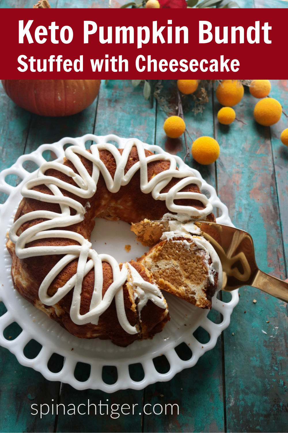 Low Carb Pumpkin Bundt Cake filled with cream cheese. Keto friendly. Tips for how to make a bundt cake and successfully release it. #lowcarbpumpkinbundt #ketopumpkinbundt #spinachtiger #glutenfree via @angelaroberts