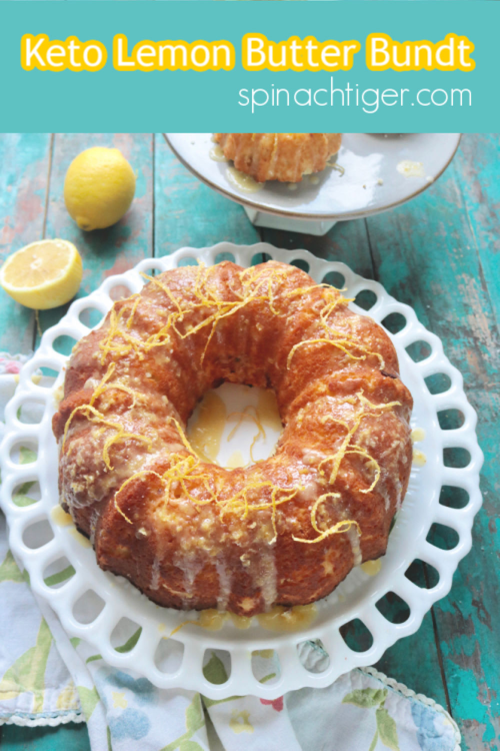Keto -Paleo Lemon Butter Bundt Cake, made with fresh lemon juice, almond flour, coconut flour. Learn the best tips for releasing a bundt and making a perfect lemon butter topping. #ketolemoncake #ketolemonbundt #paleolemoncake #paleocake #glutenfree #spinachtiger via @angelaroberts