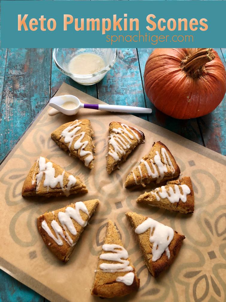 Keto Pumpkin Scones (a Starbucks copycat) that is grain free, sugar free, gluten free. Make with pumpkin puree, pumpkin spice, almond flour, coconut flour, golden flax meal and egg whites, it's super moist, super delicious. Makes 16 scones. #pumpkinscones #ketoscones #ketopumpkinrecipe #spinachtiger #paleopumpkinrecipe #ketopumpkinscones #glutenfreerecipe #glutenfreescones #swerve via @angelaroberts