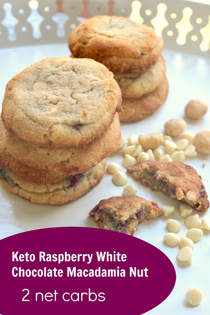 Grain Free, Keto White Chocolate Raspberry Macadamia Nut Cookies. Chewy, sweet, salty, and only 2 net carbs per cookies. Paleo, Gluten Free. #spinachtiger #ketocookies #raspberrycookies #macadamianuts #whitechocolate #sugarfree #lowcarbcookies #glutenfree #paleocookies via @angelaroberts