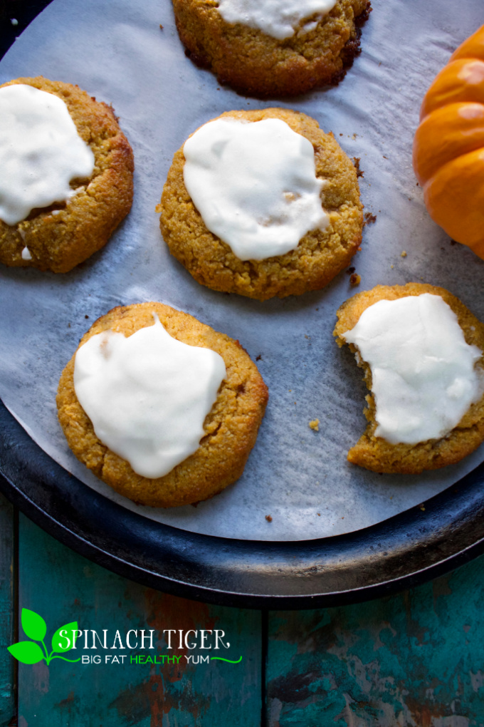 Make these fluffy keto pumpkin cookies at only 1 carb each. Paleo, Gluten Free, Grain Free, Diabetic friendly. #ketopumpkincookies #diabeticdessert #diabeticcookies #paleocookies #swerve #sugarfreecookies #spinachtiger #pumpkinrecipes #ketobaking #glutenfreebaking via @angelaroberts