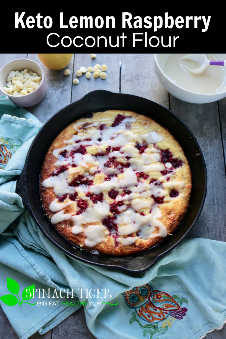 Grain Free, Keto Friendly, Coconut Flour Lemon Raspberry Skillet Cake or Muffins. Only 167 calories, 2 net carbs #diabeticfriendly #ketocake #Swerve #coconutflour #paleomuffins #ketomuffins #spinachtiger #ketomuffinrecipe #ketorecipe #coconutflourrecipe via @angelaroberts