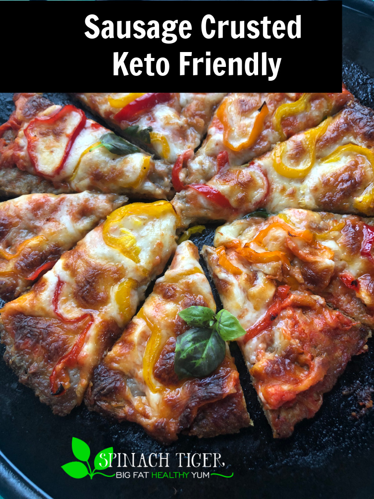 Make this amazing KETO PIZZA with VIdeo where sausage is the crust! Bell peppers are the perfect topping and this takes all of twenty minutes to make #ketopizza #spinachtiger via @angelaroberts