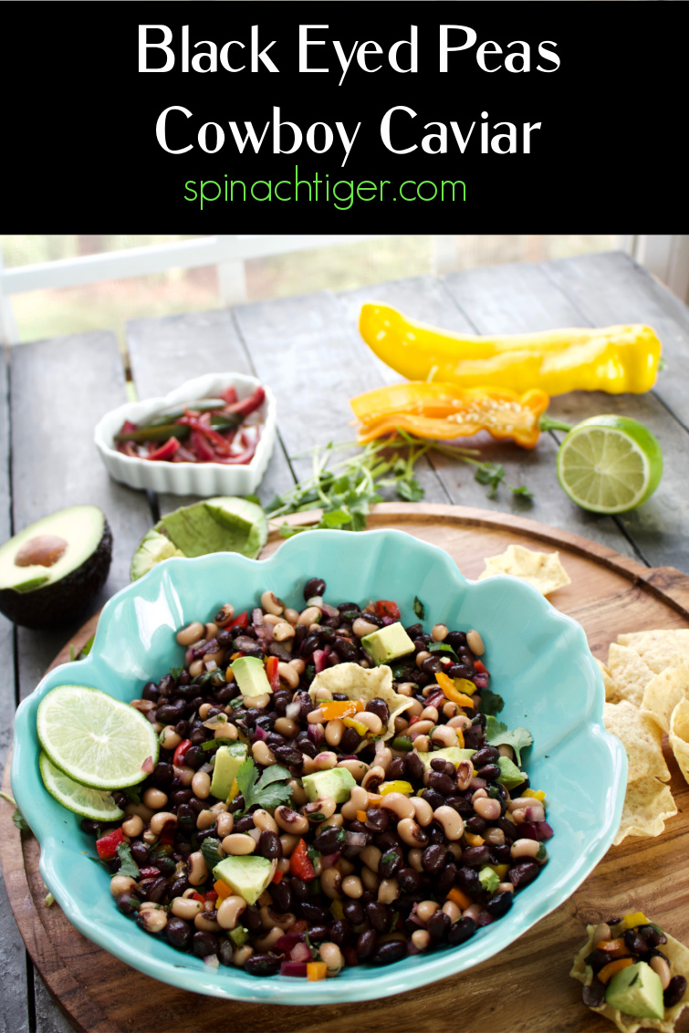 Cowboy Caviar with Black Eyed Peas, Black Beans, Pickled Red Onion. Perfect appetizer or starter for Taco Night. #cowboycaviar #texascaviar #blackeyedpeas #blackbeans #pickledonion #spinachtiger via @angelaroberts